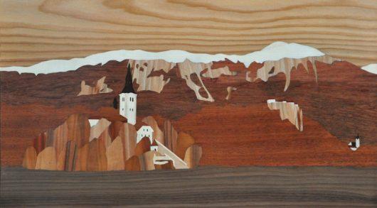 ročno izdelana lesena slika z motivom Bleda