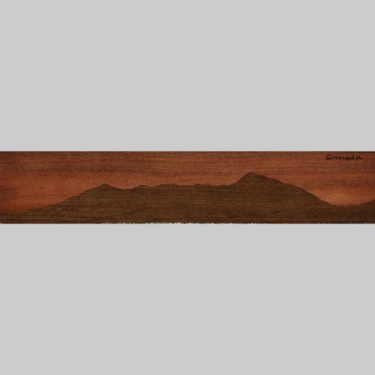 ročno izdelana lesena knjižna kazalka s panoramo Grmade