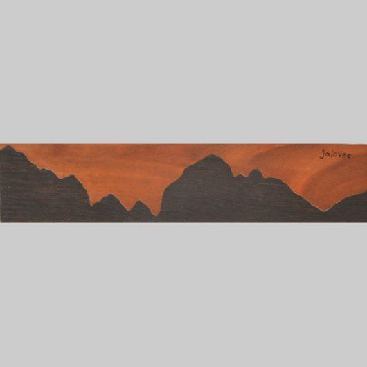 ročno izdelana lesena knjižna kazalka s panoramo Jalovca