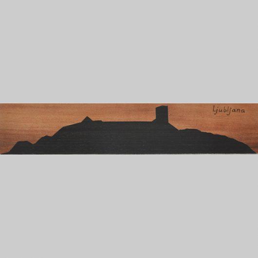 ročno izdelana lesena knjižna kazalka s panoramo Ljubljanskega gradu