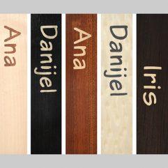 ročno izdelana lesena knjižna kazalka z napisom imena