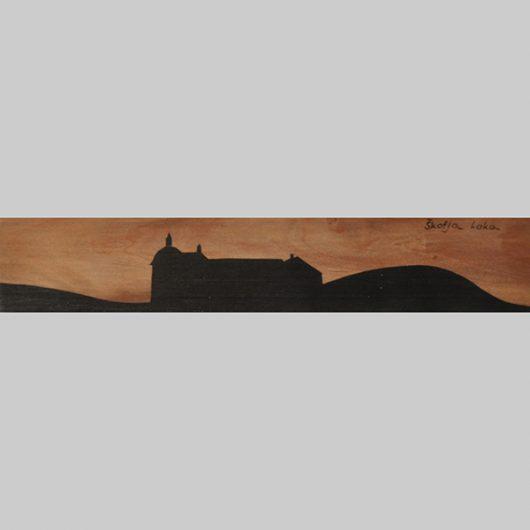 ročno izdelana lesena knjižna kazalka s panoramo Škofje Loke
